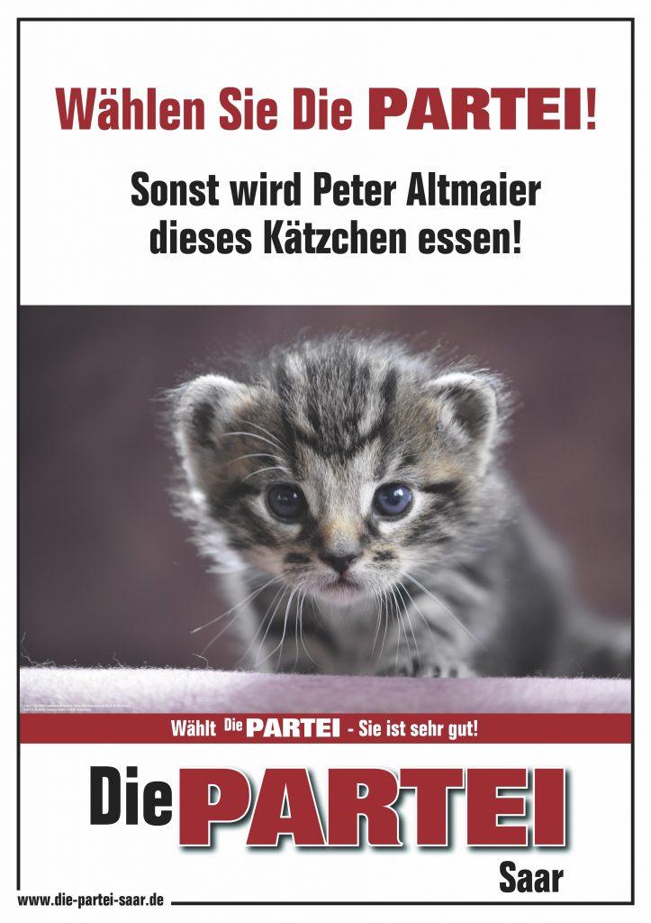 Wählen Sie DiePARTEI! Sonst wird Peter Altmaier dieses Kätzchen essen!